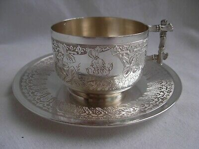Antique French Sterling Silver Coffee Cup & Saucer,Art Nouveau