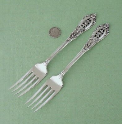 "Wallace Sterling Silver - Rose Point - (2) Beautiful Luncheon Forks 7"" Long"