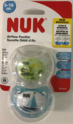 2 NUK Air Shield Orthodontic Pacifier Toddler 6-18 Months Boy Blue//Green