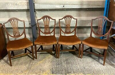 Set 4x Georgian Hepplewhite style shield back dining chairs upholstered antique