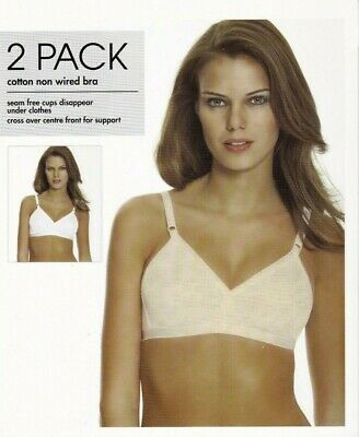 BHS 2 Pack Bras Bra Cotton Rich Nude & White Crossover Smooth Full Cup Non Wired