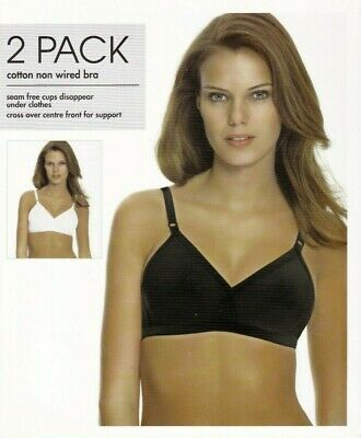 BHS 2 Pack Bras Bra Cotton Rich Black White Crossover Smooth Full Cup Non Wired