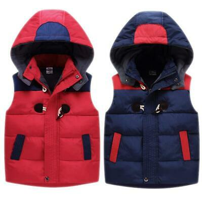Kids Boys Girls Body Warmer Gilet Padded Fleece Puffer Vest Jacket Hooded Coat