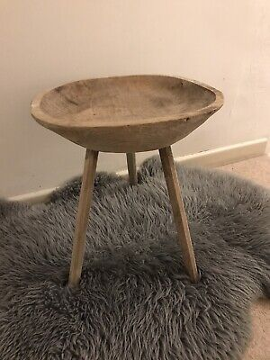 Antique Hungarian Rustic Wooden Bowl Top Stool