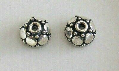 Bead cap, sterling silver, 7.5x4mm round, fits 6-7mm bead x 2
