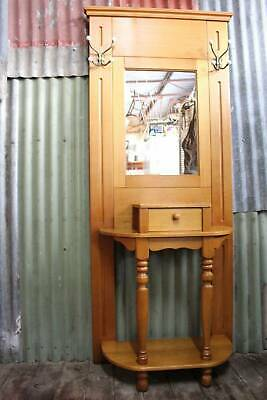 A Quality Made Tall Vic Ash Mirror Back Hall Stand - Oak