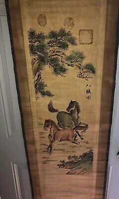 Antique Chinese Scroll Horses ART Painting Chinese Asian Wild Prancing Hand Made