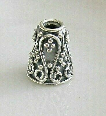Bead cap, antiqued sterling silver, 10x8mm beaded cone, fits 6-8mm bead x 2