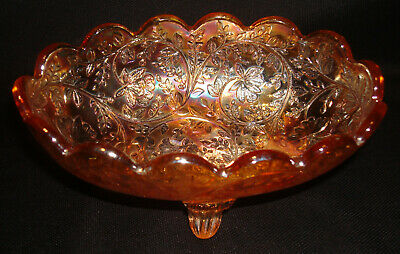 """Vintage 1950s Jeannette Glass Floragold 5 ¼"""" Scalloped Footed Oval Candy Bowl"""