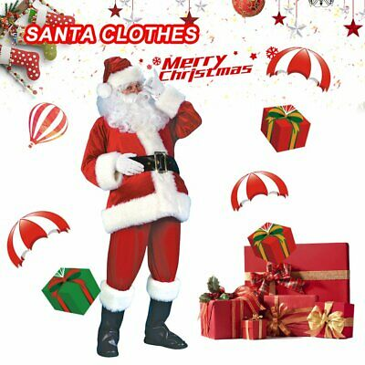 AU Deluxe 7 Piece Santa Claus Suit Plush Father Christams Costume Xmas Dress EA