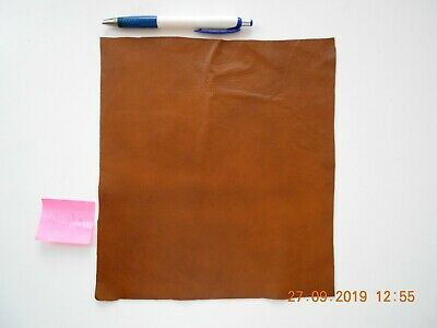 Brand New WHISKY BROWN 24x22 cm 1 piece GENUINE LEATHER-SCRAPS, OFF CUTS PANELS