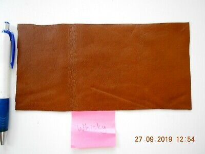Brand New WHISKY BROWN 20x10 cm 1 piece GENUINE LEATHER - SCRAP, OFF CUTS, PANEL