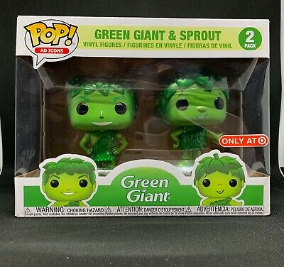 Funko POP! Green Giant & Sprout Metallic 2019 SDCC Debut TARGET Exclusive