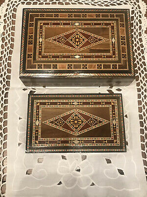 Set (2) Vintage Wood inlaid Design wooden jewelry boxes
