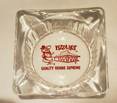 """Vintage Clear Glass Advertising Ashtray """"Pizza Hut"""" Red Lettering 4.25"""" Square"""