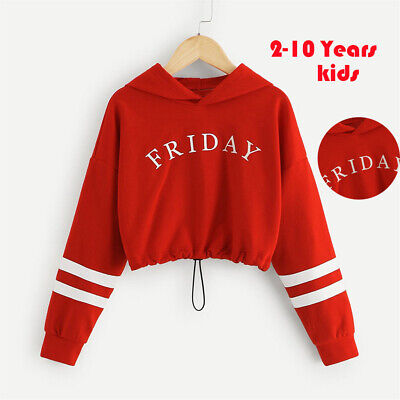 Teen Kids Girls Letter Print Hooded Sweatshirt Pullover Long Sleeve Tops Clothes