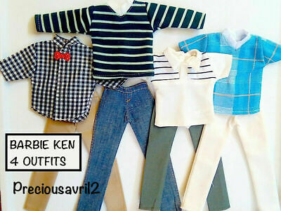Ken Doll Barbie outfit clothing clothes t/shirts shorts - set of 4 outfits