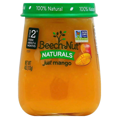 Lot 6 Jars Beech-Nut® Naturals™ Just Mango, 4 oz