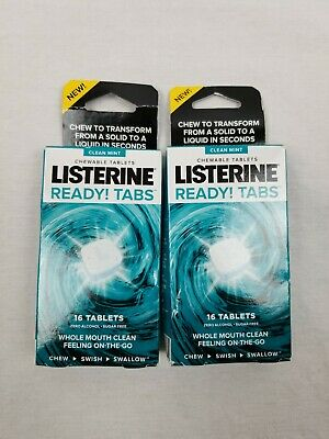 Listerine Ready Tabs Chewable Tablets Mint  2 -16 Count Boxes