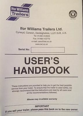 IFOR WILLIAMS TRAILER HANDBOOKs  X 10 INSTRUCTIONS REGISTRATION SERVICE MANUAL