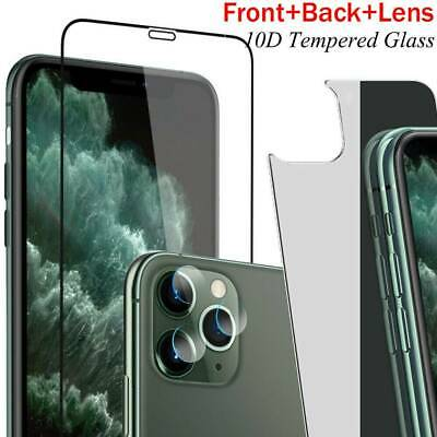 HD Clear 9H Tempered Glass Front+Back+Lens Film Protector For iPhone 11 Pro Max