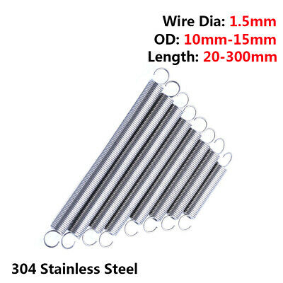 10Pcs Expansion Tension Spring Hook End Wire Dia 0.8mm 2.3mm 2.5mm Long 20-360mm
