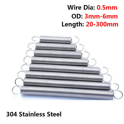 Wire Dia 0.5mm Extension Expansion Tension Spring Hook End OD 3/4/6mm L 20-300mm