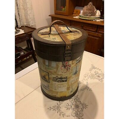 Vintage Round Travel/Train Luggage Tall Wig Carry Box