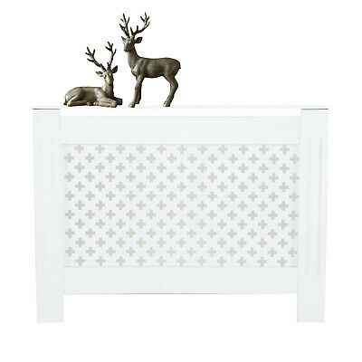 Radiator Cover Cabinet Wood MDF White Or Grey Traditional Cross Design Furniture
