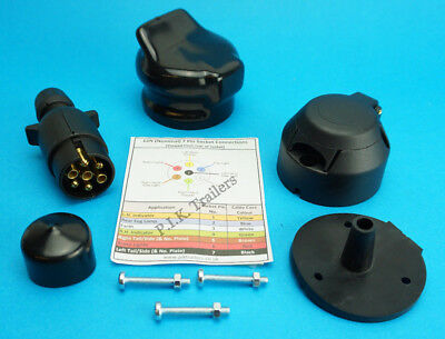 Towing Plug & Socket 7 Pin 12N Gasket Seal with Plug & Socket Covers - Trailer