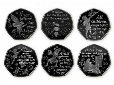 PETER PAN 50p COIN SET FULL SET OF 6 x 50p COINS  from SEALED BAGS **FULL SET**