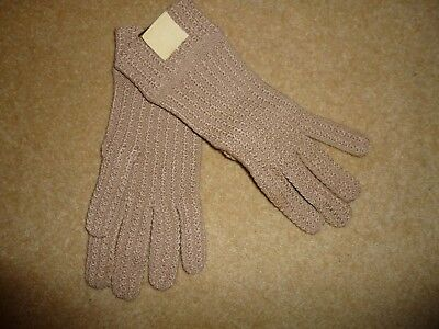VINTAGE DENTS Tonia Beige Stretchy Gloves Size M - NEW with tag