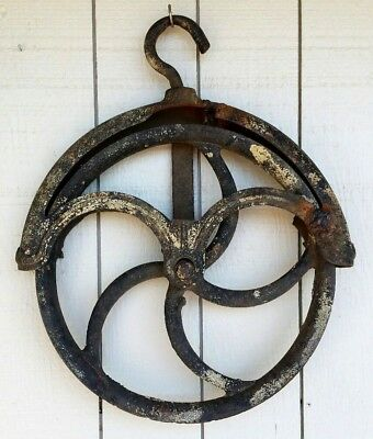 Well Pulley Barn Wheel Steampunk Antique Cast Iron Industrial Primitive Hay Loft