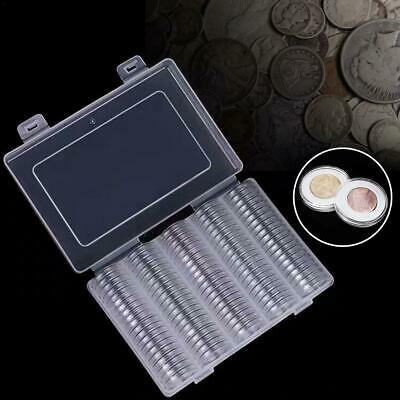 100Pcs Coin Collection Cases Capsules Holder Applied Clear Round Storage W/ Box