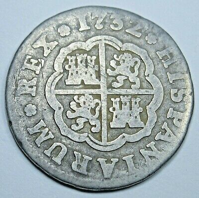 1732 Spanish Silver 1 Reales Piece of 8 Real Colonial Era Pirate Treasure Coin