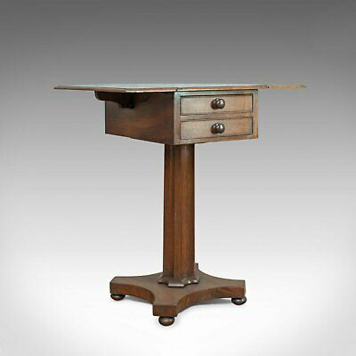 Antique Pembroke Work Table, English, Victorian, Flame Mahogany, Drop Flap c1840