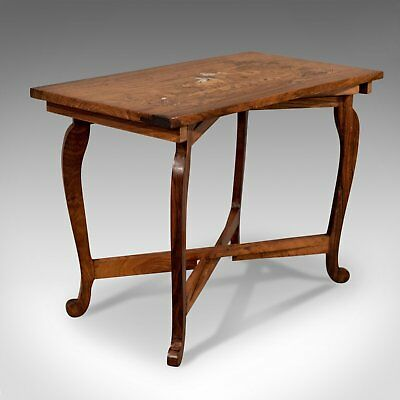 Vintage Side Table, Rosewood, Folding, Marquetry, Low, Mid 20th Century