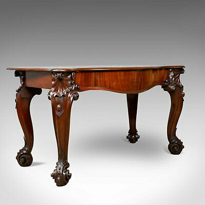 Antique Console Table, English Victorian Mahogany Serving Circa 1860