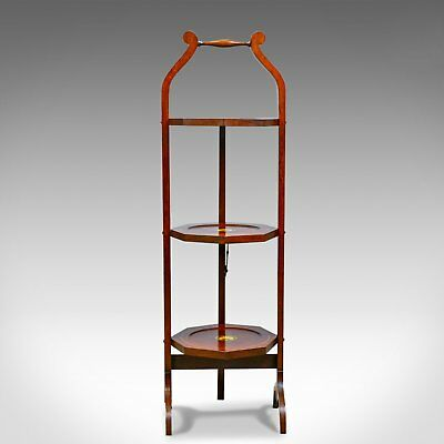 Antique Folding Cake Stand, English, Edwardian, Mahogany, Three Tier, Circa 1910