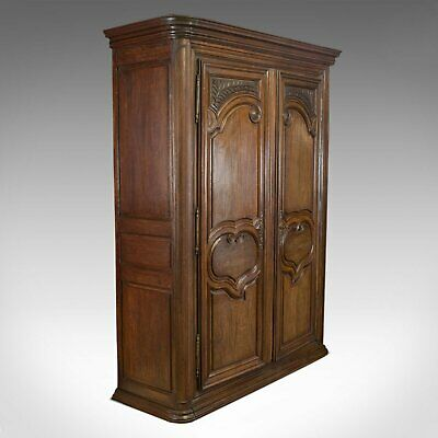 Antique Continental Armoire, French, Oak, Wardrobe, Mid-19th Century, Circa 1850