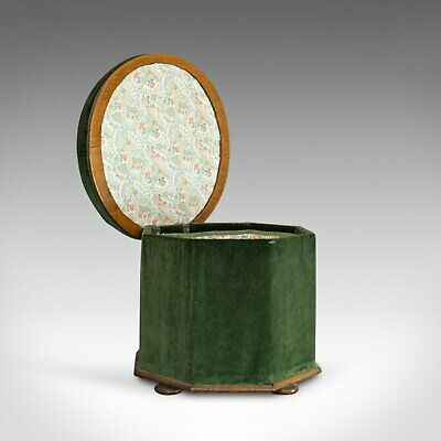 Antique Ottoman Stool, Victorian, Dressing, Storage, Circa 1880