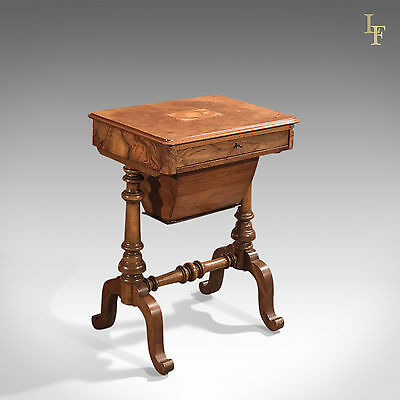 Antique Work Table, Victorian, Sewing, English, Burr Walnut, Side c.1860
