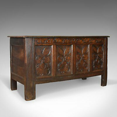 Antique Coffer, Large, English Oak Chest, Early 18th Century Trunk Circa 1700