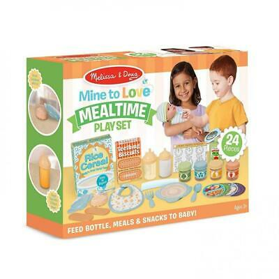 Baby Doll Mealtime Play Set Food Feed Snacks 24 Piece Kids Toy Kitchen Gift New
