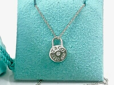 "Tiffany & Co Silver 1837 Round Circle Lock Diamond Pendant 18"" Necklace w Pouch"