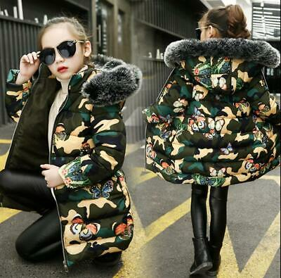 Girls Kids Camo Print Cotton Padded Quilted Puffer Long Jacket Fur Hooded Coat