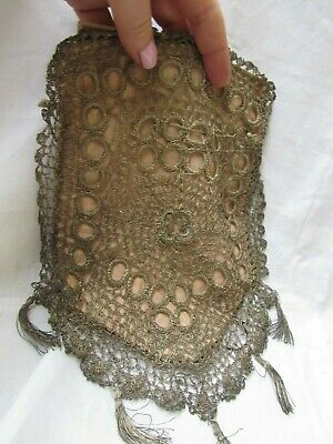 Antique French Purse Silver metal thread work late 19th century 1890's/1900's