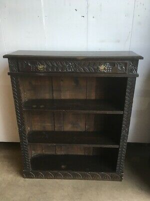 Victorian Carved Oak Open Bookcase