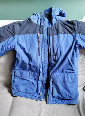 Boys Lands End Winter Coat with Hood, Navy Blue Medium 10-12