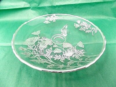 Vintage Footed Serving Dish Plate Clear Glass w/ Silver Accents
